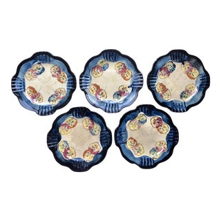 Antique Hand-Painted Scalloped Pansy Plates - Set of 5 For Sale