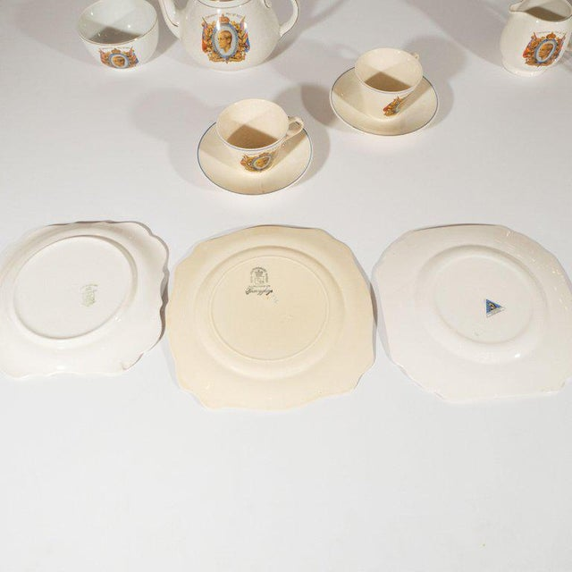 Art Deco English Art Deco Royal Commemorative Porcelain Coronation Set For Sale - Image 3 of 13