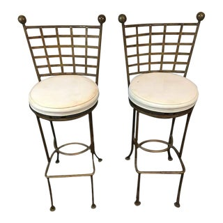 Contemporary Metal Lattice Back and Upholstered Bar Chairs - A Pair