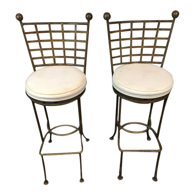 Contemporary Metal Lattice Back and Upholstered Bar Chairs - A Pair - Image 1 of 4