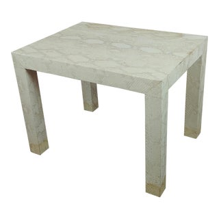 Edelman Leather Bleached Snake Skin Side Table For Sale