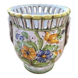 Italian Ceramic Floral Reticulated Cachepot Urn For Sale