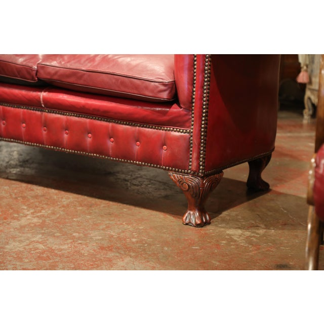Red Large Midcentury Three-Piece English Chesterfield Set With Armchairs and Sofa For Sale - Image 8 of 10