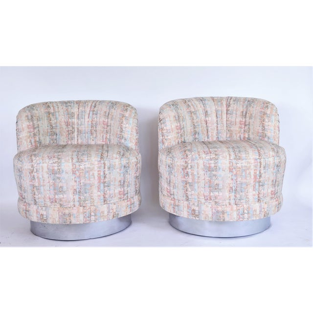 Milo Baughman Style Swivel Lounge Chairs - a Pair For Sale In Miami - Image 6 of 10