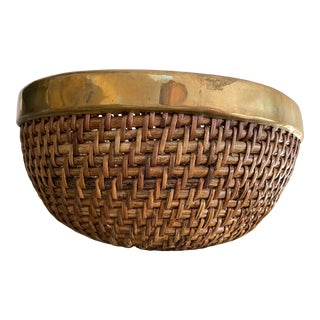 Woven Rattan Basket Bowl With Brass Rim For Sale