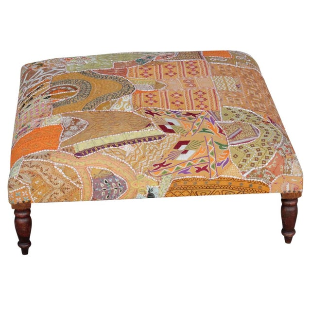 Vintage Hand-Sewn Tapestry Ottoman For Sale - Image 4 of 6