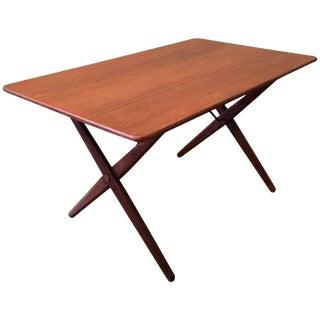 1960s Danish Modern Hans Wegner for Andreas Tuck Teak and Brass Occasional Table For Sale