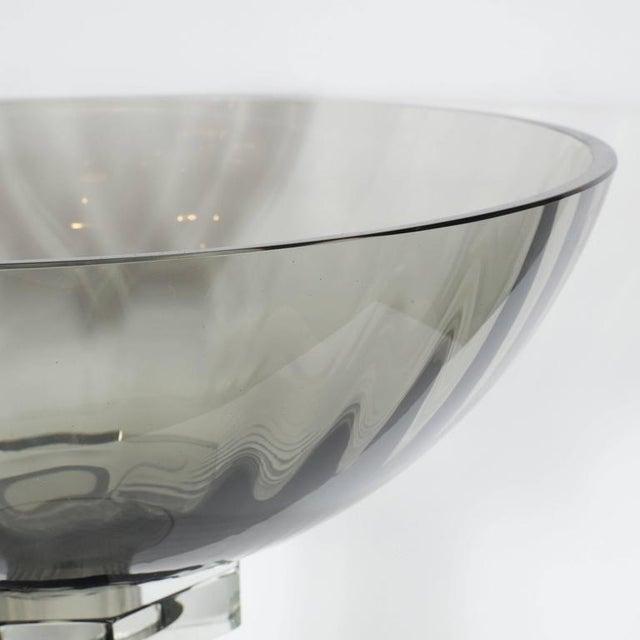 Lovely Murano Glass Modernist Bowl Or Vase In Handblown Smoked Glass