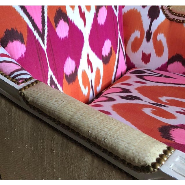 Wood Ikat Upholstered Oly Studio Tobias Chair Set For Sale - Image 7 of 9