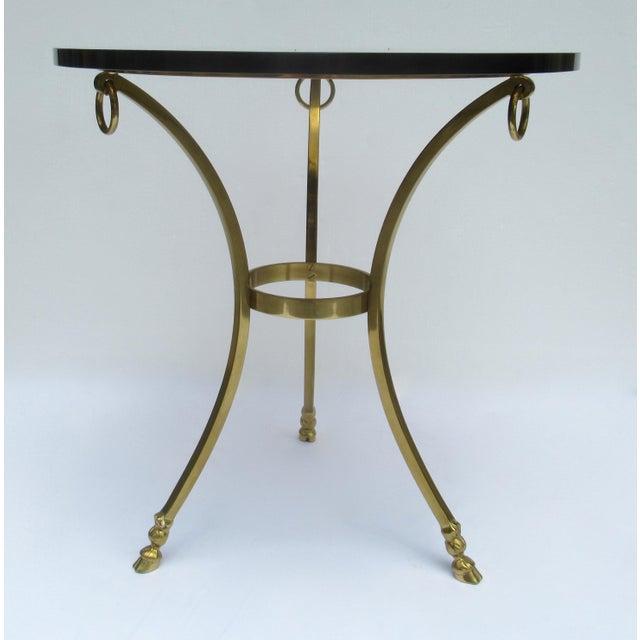 1950s Vintage LaBarge Regency Brass Hoofed & Bronze Glass Gueridon Table For Sale - Image 5 of 13