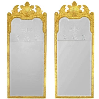 24-Karat Water Giltwood and Gesso Italian Trumeau Mirrors - a Pair For Sale