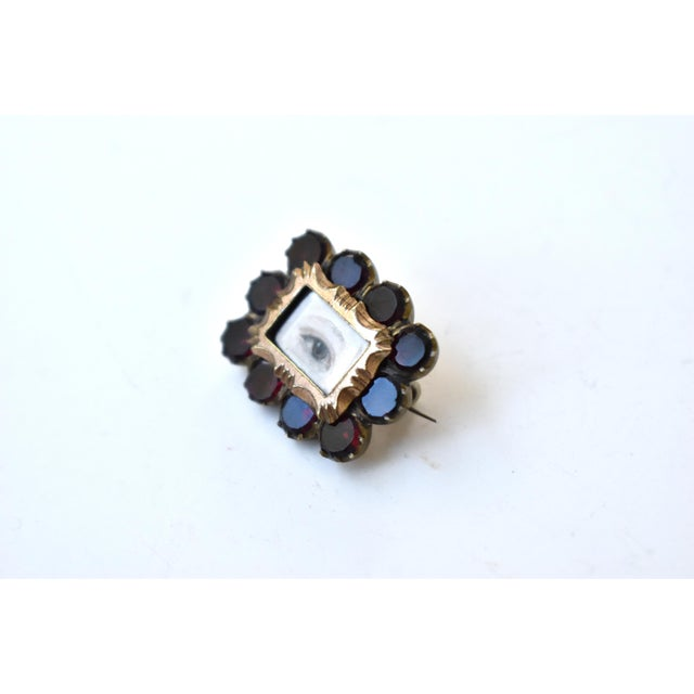 Early 19th Century Antique Georgian Garnet Brooch With Contemporary Lover's Eye Painting by S. Carson For Sale - Image 5 of 9