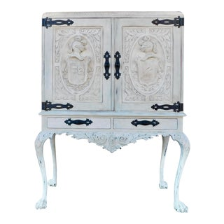 1920 Spanish Revival Heraldic Theme Storage Cabinet in Gustavian Painted Finish For Sale
