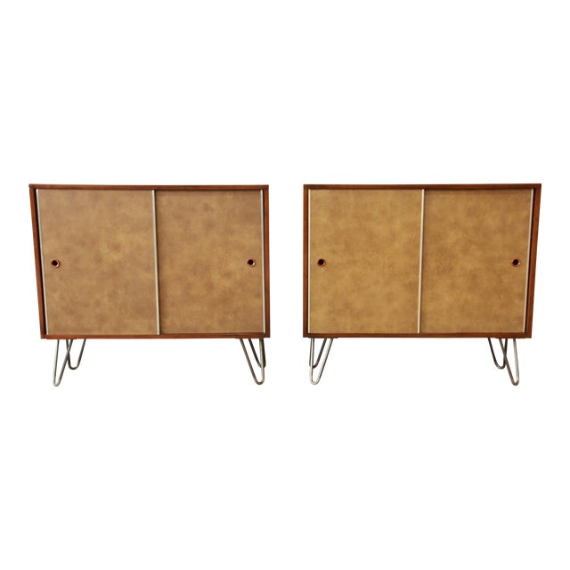 Paul McCobb for Calvin Small Cabinets on Hairpin Legs- a Pair - Image 1 of 9