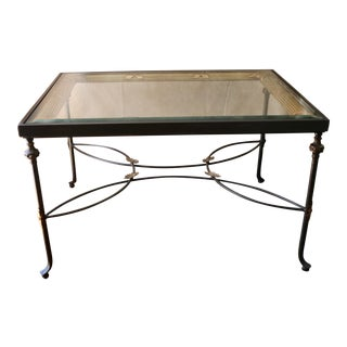 20th Century Wrought Iron & Glass Top Coffee Table For Sale