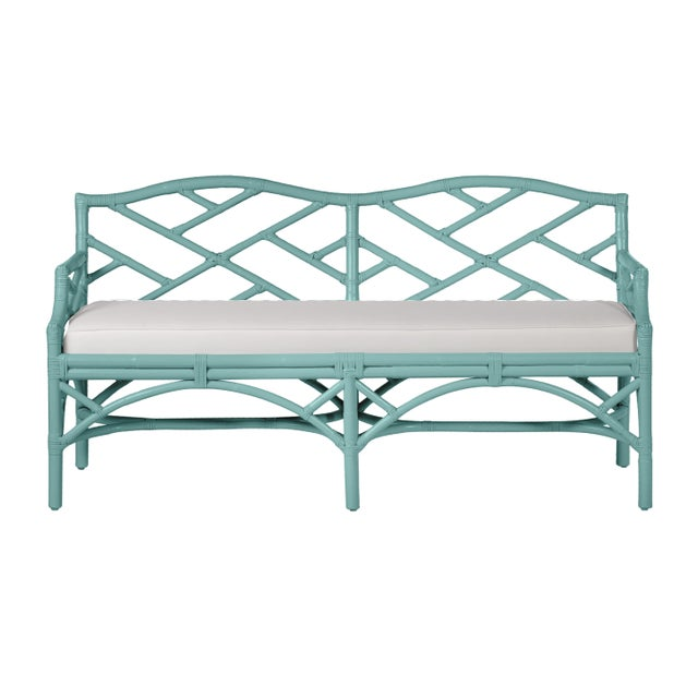 Chippendale Bench - Turquoise For Sale In West Palm - Image 6 of 6