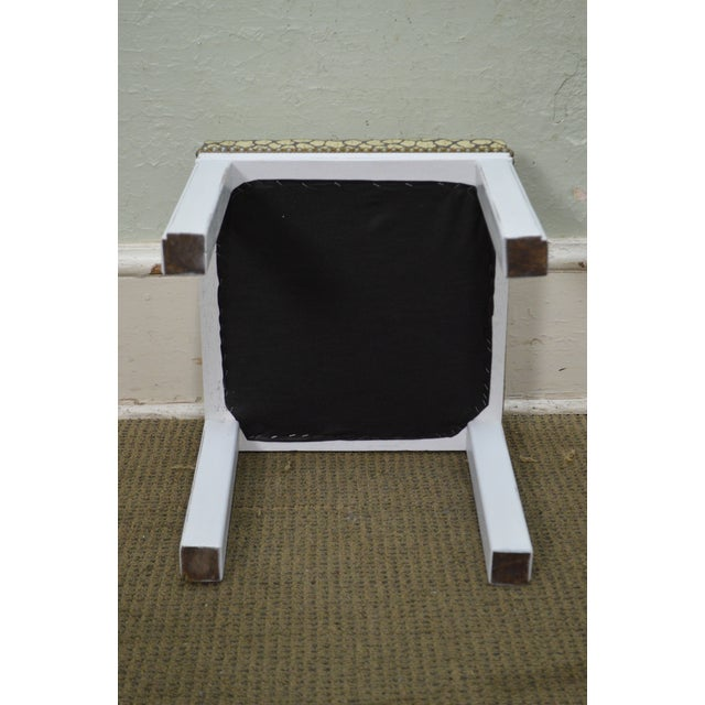 Mid Century Pair of Custom Painted Square Stools Benches For Sale - Image 10 of 11