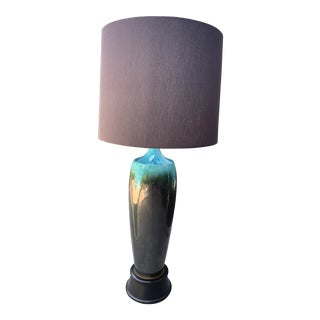 Oversized Black and Turquoise Table Lamp For Sale