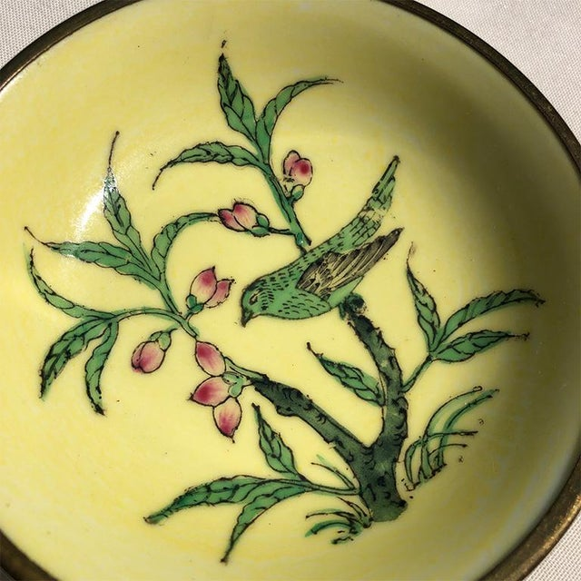 Lord and Taylor Chinoiserie Yellow Porcelain Dish With Brass Bottom For Sale - Image 4 of 9