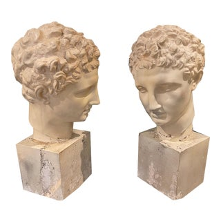 1950's-1970's Classical Roman Plaster Busts, a Pair For Sale