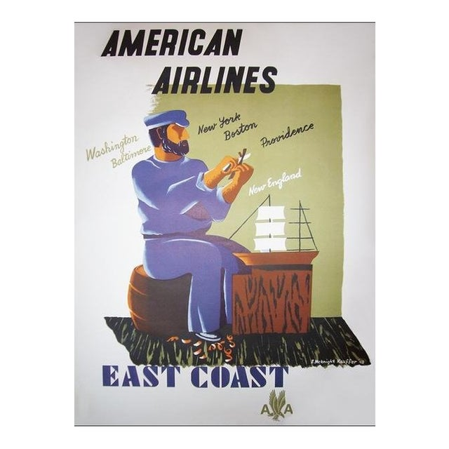 1940s Original American Art Deco Poster, American Airlines East Coast For Sale