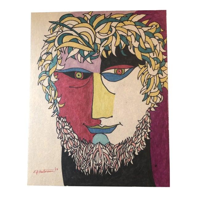 Original Vintage Colored Felt Marker Pop Art Portrait Drawing 1970's For Sale