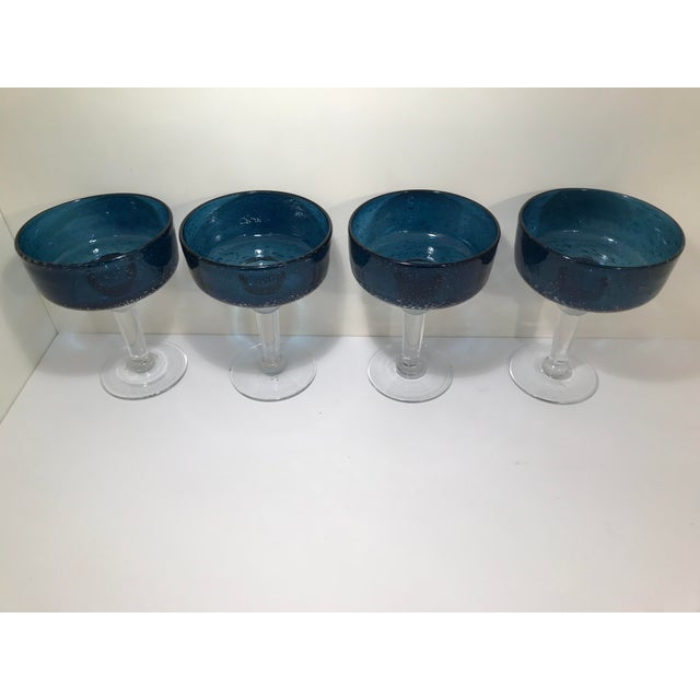 1970s 1970s Mid-Century Modern Hand Blown Cobalt Blue Margarita Glasses - Set of 4 For Sale - Image 5 of 6
