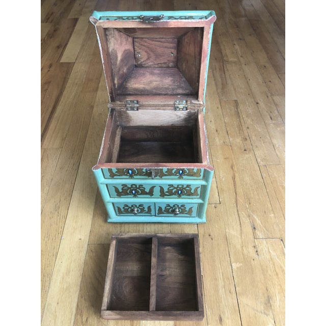 Early 20th Century Vintage Indian Hand Painted Box For Sale - Image 5 of 13