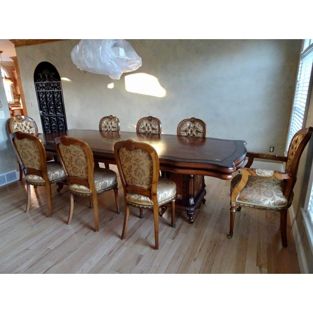Extra Large Italian Baroque Style Solid Wood Dining Set - 9 Pieces For Sale - Image 12 of 12