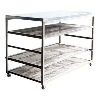 Custom Industrial Steel Rolling Rack With Expanding Shelves For Sale