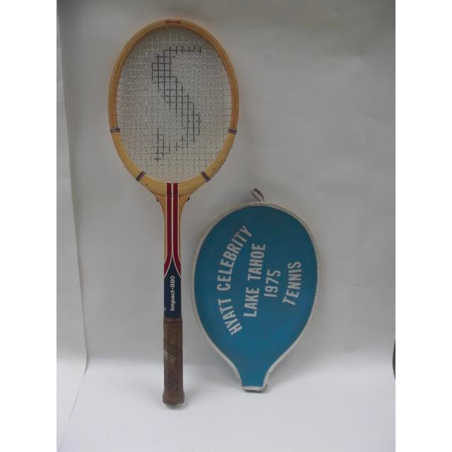 Vintage Spaulding Tennis Racquet With Vinyl Cover For Sale - Image 4 of 4