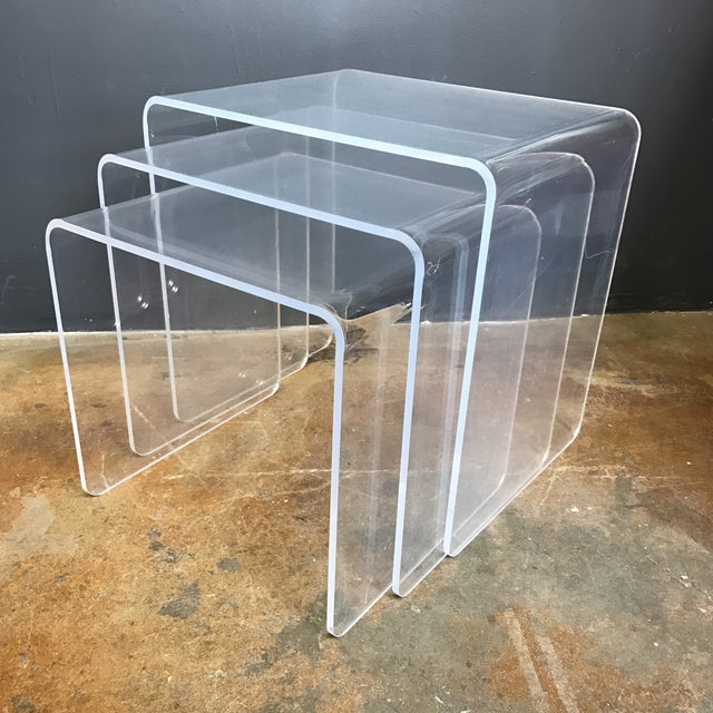 Vintage lucite nesting tables set of 3 chairish vintage lucite nesting tables set of 3 image 2 of 5 watchthetrailerfo