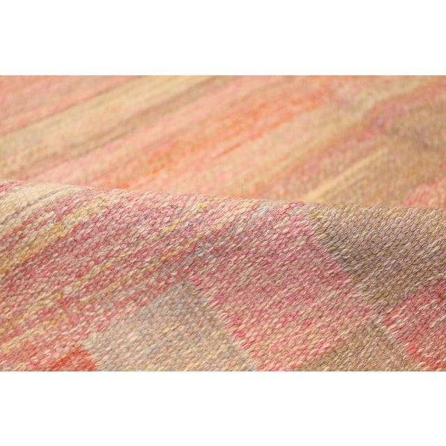 Pink Vintage Scandinavian Art Deco Flat Carpet - 7′3″ × 10′8″ For Sale - Image 8 of 10