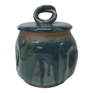 Mid-Century Modern Hand Thrown Green and Blue Lidded Decorative Pottery Vessel For Sale