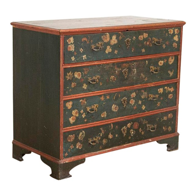 Antique Hand Painted Chest of Drawers With Flowers For Sale