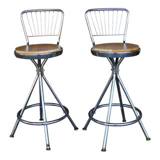 Vintage Mid Century Counter Stools - a Pair For Sale