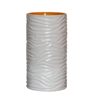 White Grooved Sonoma Vase For Sale
