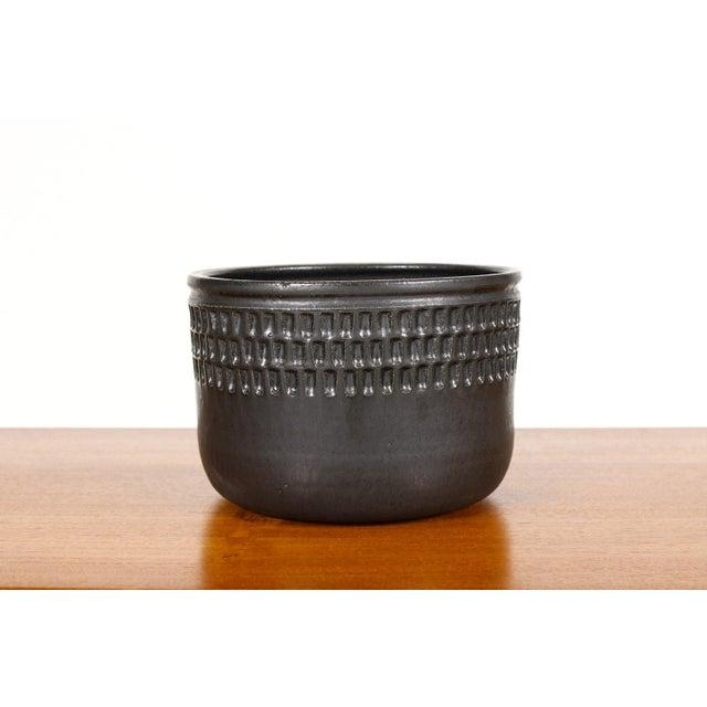 #1695 - Ceramic Stoneware Modernist Planter — Large Facet — Black Glaze — P107 Wheel thrown ceramic stoneware planter...