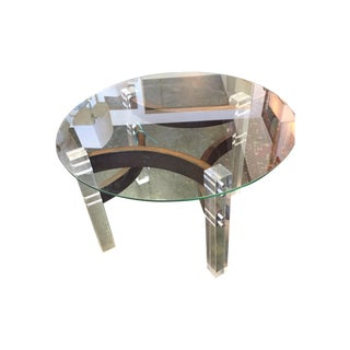 Mid-Century Glass Top Bentwood & Lucite Table