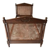 "Image of Antique French Daybed in Walnut Double Urn-Carved and Double Sided Caning Needs Restoration 80""l For Sale"
