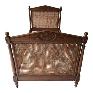 "Antique French Daybed in Walnut Double Urn-Carved and Double Sided Caning Needs Restoration 80""l For Sale"