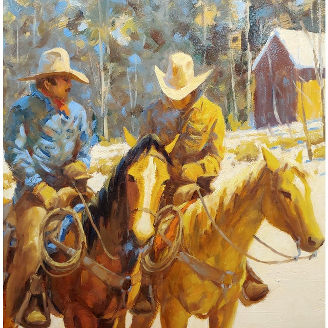 1970s Oil Painting, Cowboys on Horse by Martin Weekly For Sale - Image 4 of 8
