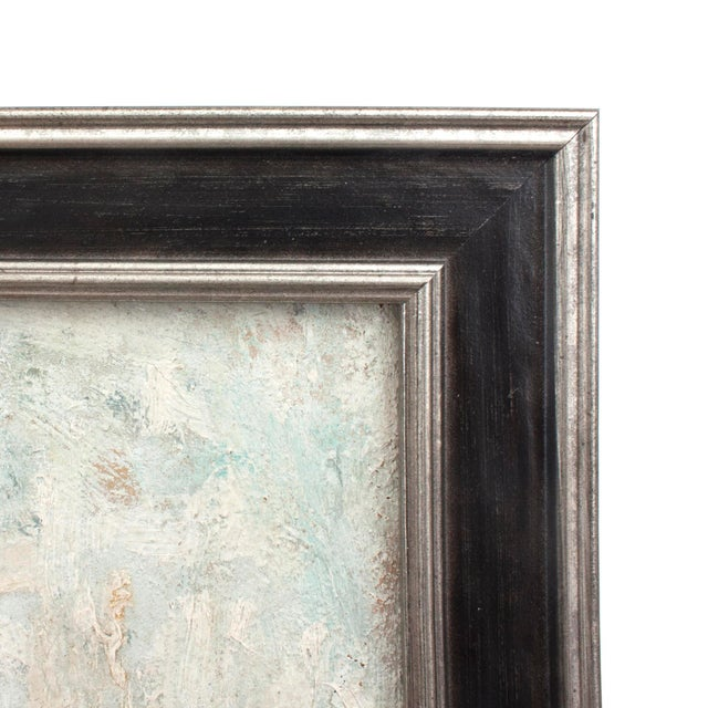 Striking 1940-1950s framed oil on board painting of a man. Thick and textural paint application. Newly framed with an...