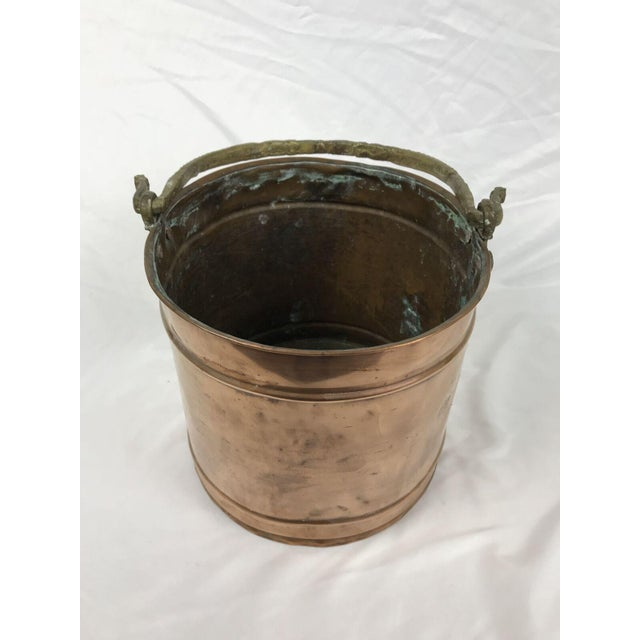 French Country Vintage Rustic Primitive Country Copper Pail Bucket Cast Bronze Handle For Sale - Image 3 of 7