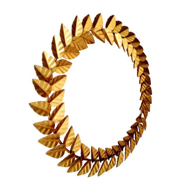 Modern Modern Metallic Gold Leaf Round Christmas Wreath For Sale - Image 3 of 6