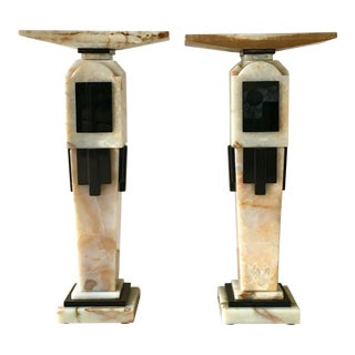 Pair of Art Deco Style Pedestals 1980s For Sale