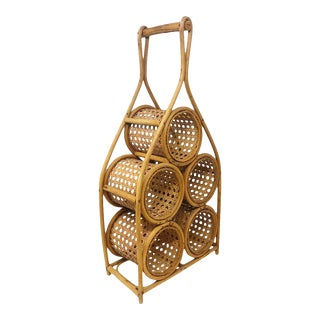 Vintage Bamboo & Rattan Wine Bottle Holder For Sale