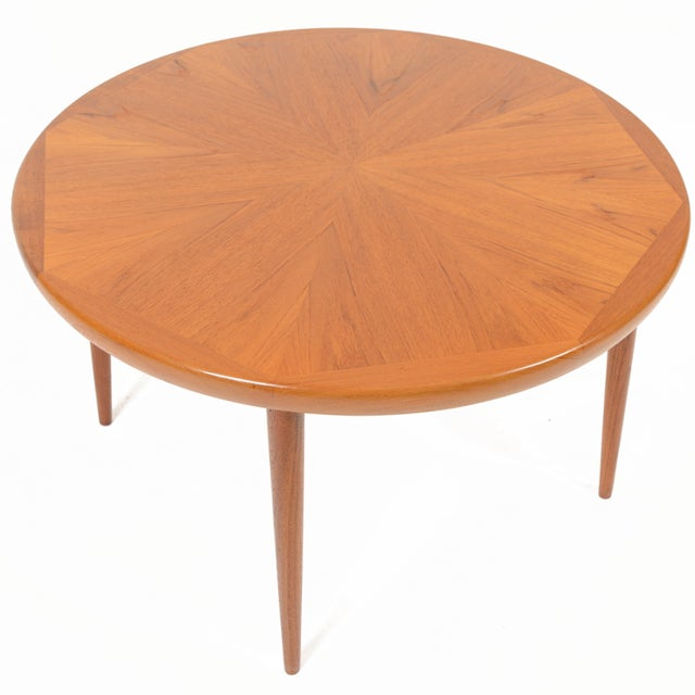 Danish Modern Round Starburst Teak Coffee Table - Image 2 of 9