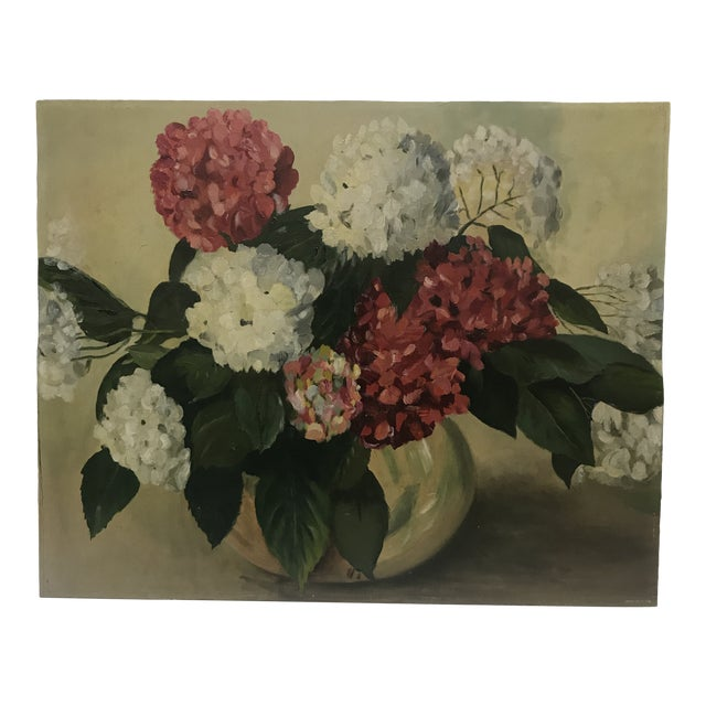 1952 Oil Painting by H G White, Still Life Hydrangeas For Sale