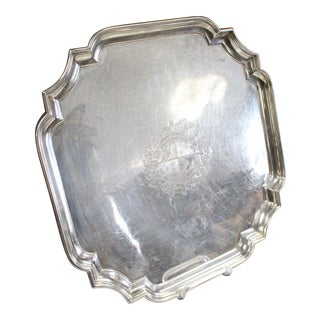 Early 20th Century French Engraved Silver Plate Tray For Sale